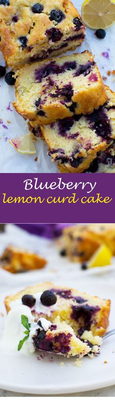 Sticky blueberry lemon curd cake - a delicious crowd pleaser for spring, summer, or any time! #blueberries #lemon #lemoncurd #cake #scrummylane #dessert