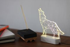 Modern concrete howling wolf lamp, Geometric LED lamp ,concrete table lamp, Animal night light, woodland decorative lamp by SturlesiDesign on Etsy https://www.etsy.com/listing/209546817/modern-concrete-howling-wolf-lamp