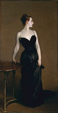 "John Singer Sargent (1856–1925) American artist, considered the ""leading portrait painter of his generation"" for his evocations of Edwardian era luxury. He lived most of his life in Europe. His most controversial work, Portrait of Madame X (Madame Pierre Gautreau) is considered one of his best. The first version featured an off-the-shoulder dress strap, which made the effect daring and sensual. He repainted the strap to try to dampen the furor. (Madame X, 1884)."