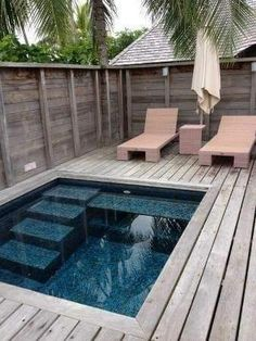 Small Inground Pool, Small Swimming Pools, Small Backyard Pools, Backyard Pool Designs, Small Pools, Swimming Pools Backyard, Swimming Pool Designs, Small Patio, Pool Landscaping