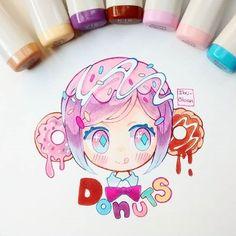 Chica donas Es la chica dango pero en otra versión ;p #donuts #kawaiifood #kawaii #chibi #kawaiichibi #chibiart #copicmarker #copicsketch #copicmultilinier