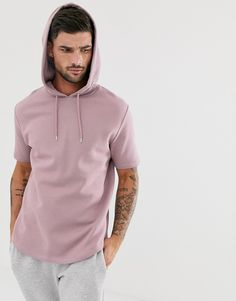 Asos Design Short Sleeve Hoodie With Curved Hem In Dusty Purple - Pink Short Sleeve Hoodie, Casual Wear For Men, Dusty Purple, Spring Fashion, Hooded Jacket, Fashion Online, Latest Trends, Asos Men, Fashion Outfits