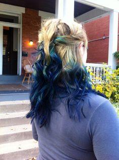 Blue teal and blonde dip dye