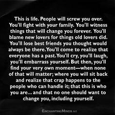 Shit happens... Quit the pity party, dust yourself off and stand on your own 2…