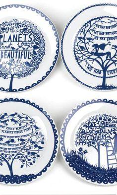 "Rob Ryan Ceramic Plates Set of Four 9"""