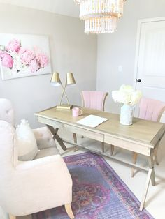 Home office design, pink decor, peonies, office, home decor, chandelier, design by @sugarcolorinteriors