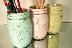 Office Decor Pastel Painted Jars. In yellow and teal for the new office!