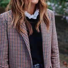 OMG!! Preppy fashionI am in love with. The high neck blouse under a sweater and plaid blazer is so cool! | Styling Tips for a street savvy fashionable look! | Outfit ideas for women.