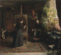 The Danish Artist Bertha Wegmann Painting a Portrait, by Jeanna Bauck, 1870s. Oil on canvas.