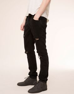 RIPPED SLIM FIT JEANS - JEANS - MAN - PULL&BEAR Italy
