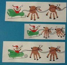 Christmas art: Santa's sleigh & reindeer using hand/foot prints