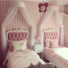Jia&You solid color summer autumn room mosquito bold stainless steel pi Twin Girl Bedrooms, Princess Bedrooms, Bed For Girls Room, Bedroom Decor For Teen Girls, Girl Bedroom Designs, Little Girl Rooms, Baby Room Decor, Dream Rooms, Dream Bedroom