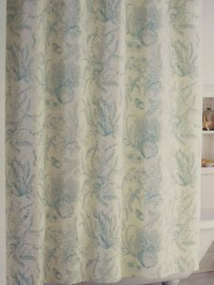 Blue Green and Ivory Shells and Flowers Shower Curtain Coastal