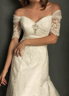 Elegant Tulle & Satin A-Line Off-the-shoulder Wedding Dress With Appliques and Beadings