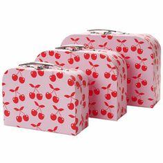 Valisette de rangement carton rose et cerises (set de 3) Silly