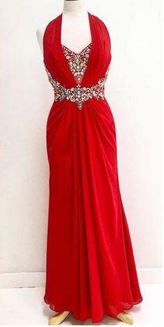 Red Crystal Halter Sheath Chiffon Prom Dresses