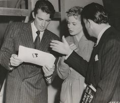 Gregory Peck, Ingrid Bergman & Salvador Dalí on set of Spellbound, 1945, Alfred Hitchcock.