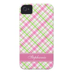 Pink and Green Plaid Pattern iPhone 4 Case-Mate Case