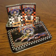 2 Unopened Decks Nascar Playing Cards in #'d 50th Anniversary Tin Box