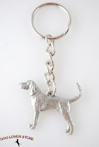 Coonhound Pewter Key Chain, great stocking stuffer for Christmas! 83 breeds available at www.DogLoverStore.com $7.00