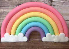 Fondant 3d pastel rainbow cake topper. by SugarPopLane on Etsy https://www.etsy.com/au/listing/575951825/fondant-3d-pastel-rainbow-cake-topper