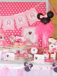 bubbles, minnie ears (styro balls painted black & bow) with feather boa, framed invitation, hanging name cards made from individual pages with printed letter circles of corresponding color; bubbles!  TOO CUTE!