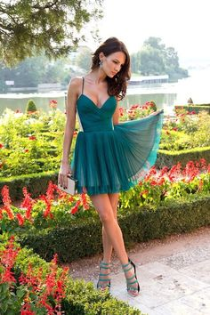 V-neck A-line Green Chiffon Short Homecoming Dress Prom Dresses by Kellyonce