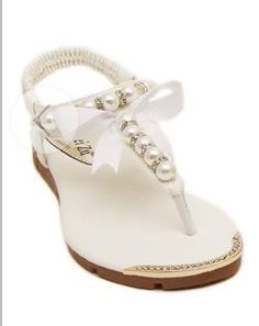 Women Flat Sandals with Pearls (Color: White) | Save upto 30% with us |  Visit our website now  uniquefashionusa.com