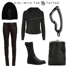 Girl With The Dragon Tattoo Clockwise:  Beanie by #VeraWang, Biker Jacket by #RickOwens, Arcus carabiner by @svorndesign, 'Bongo' Backpack by Andrea Incontri, Boots by Ann Demeulemeester, Biker Trousers by #Balmain #fashion #allblack #girlwiththedragontattoo