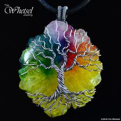 Sterling Silver Tree of Life Pendant With Solar Quartz Crystal - Handmade - Wire Wrapped
