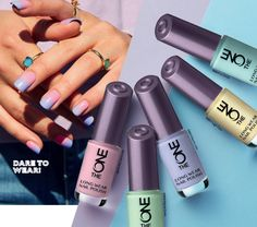 Nothing represents spring better than a manicure ombre in pastel colors. Get this look with the new pastel shades of The One Long Lasting Varnish , and dazzle in the new season! Oriflame features 5 new modern colours that combine with the l. Pastel Nail Polish, Zoya Nail Polish, Nail Polish Sets, Best Nail Polish, Pastel Nails, Nail Polish Colors, Nail Manicure, Oriflame Beauty Products, New Nail Designs
