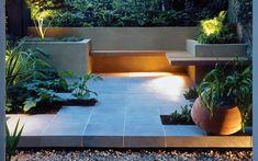 Modern garden design patio with wrap around bench Contemporary Garden Design, Small Garden Design, Garden Landscape Design, Landscape Designs, Modern Contemporary, Creative Landscape, Modern Asian, Japanese Landscape, Design Patio