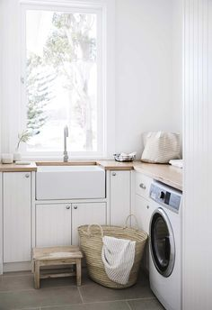 """A holiday home dream came to life in Salt at Shoal Bay Laundry: """"We contemplated a cupboard laundry,"""" says Lauren, """"but when you work out the space Laundry Bathroom Combo, Laundry Room Organization, Laundry Powder, Laundry Room Inspiration, Interior Desing, Laundry Room Design, Laundry Rooms, Small Laundry, Mudroom"""