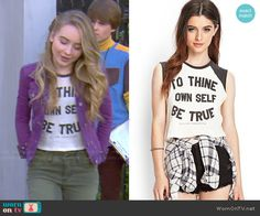 "Maya's ""To Thine Own Self Be True"" top on Girl Meets World.  Outfit Details: http://wornontv.net/48997/ #GirlMeetsWorld"