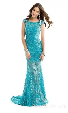 Sexy Lace Jewel Floor Trumpet Evening Dresses gparty24235