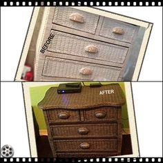 4 Drawer Wicker Dresser Dressed Up!