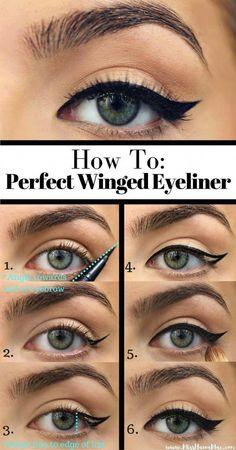 How To Do Winged Eyeliner, Winged Eyeliner Tutorial, Perfect Eyeliner, Winged Liner, Simple Eyeliner Tutorial, Cat Eye Tutorial, How To Cat Eye, Everyday Eyeliner, Make Up Tutorial