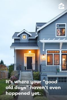 "It's where your ""good old days"" haven't even happened yet. Exterior Paint Colors For House, Paint Colors For Home, Exterior Colors, Exterior Design, Volkswagen, Pub Set, Home Fashion, House Painting, My Dream Home"