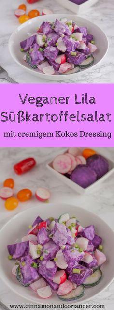 Lila Süßkartoffel Salat mit cremigem Kokosdressing.Dieser farbenfrohe lila Süßkartoffel Salat mit cremigem Kokosdressing macht einfach gute Laune! Schnell gemacht, super gesund und vegan noch dazu!
