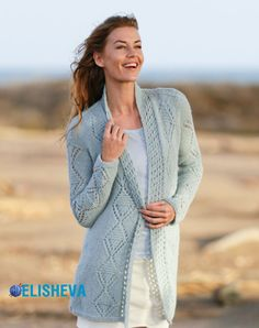 Water Diamonds - Knitted DROPS jacket with lace pattern and shawl collar in