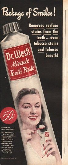 "1948 DR. WEST'S TOOTH PASTE vintage magazine advertisement ""Package of Smiles"" ~ Package of Smiles! Removes surface stains from the teeth ... even tobacco stains and tobacco breath! Dr. West's Miracle Tooth Paste ~"