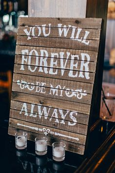 forever be my always wooden rustic wedding sign september wedding ideas / burgundy fall wedding / fall wedding color schemes / fall boquette wedding / fall wedding idea Rustic Wedding Details, Wedding Details Card, Rustic Wedding Favors, Camo Wedding, Trendy Wedding, Diy Wedding, Dream Wedding, Wedding Decorations, Wedding Day