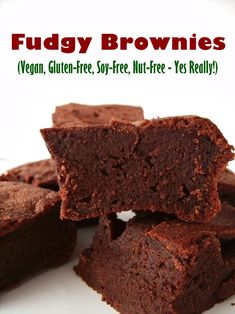 Gluten-Free Fudgy Vegan Brownies - No nuts, soy, dairy, gluten or eggs - seriously! The recipe is even rich in fiber yet sweet and indulgent. @godairyfree