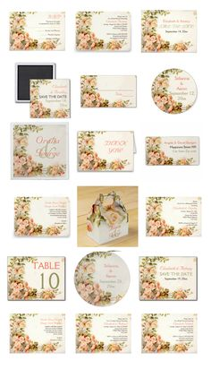 Vintage romantic painting of coral pink roses wedding invitations, bridal shower invites, Save the Date announcements, postage stamps and more. #weddinginvitations #weddinginvites #roses #vintage #floral