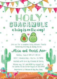 Avocado Fiesta Theme Baby Shower Invitation – Mexican Cactus Couples Holy Guacamole girl or boy Spanish FREE CUSTOM COLORS – Printed Invite Avocado Fiesta Theme Baby Shower Invitation Mexican Cactus Mexican Theme Baby Shower, Baby Shower Themes, Baby Boy Shower, Baby Shower Decorations, Shower Ideas, Mexican Baby Showers, Fiesta Shower, Shower Party, Baby Shower Parties