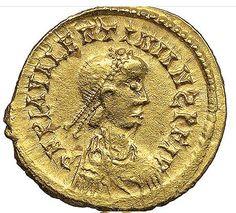 Tresmissi in oro di stile pseudo imperiale con effigie di Valentiniano III (ca 450) dalla Gallia. Gold tresmissis with fake imperial style with Valentiniano III image (ca 450) from Gaul. Collezione privata/Private collection.