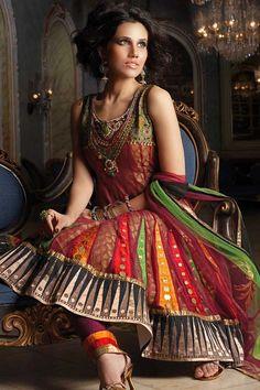 Carnelian Red and Orange Net and Brocade Embroidered Wedding and Festival Anarkali Kameez