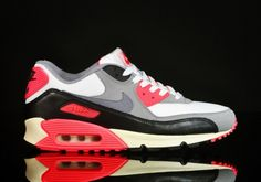 brand new 1b28e 1b2a4 Nike Air Max 90 Donne Scarpe Bianco Cement Grigio-Infrared-Nere Nike Running