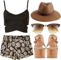 polyvore outfit: wedges, shorts, crop top