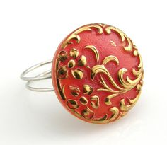 Vintage Red and Gold Czech Glass Button Ring by TrinketsNWhatnots,